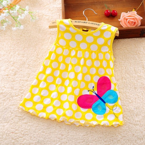 Yellow Polka Printed New Fashion Toddle Baby Girls Beach Style Party Princess Dress