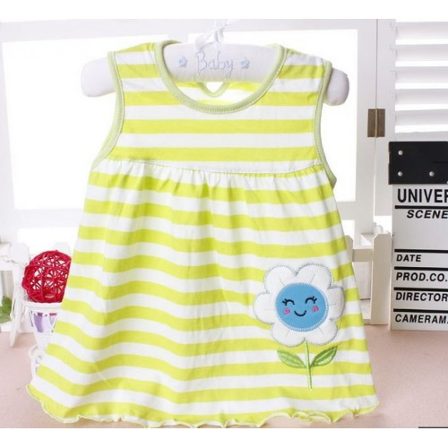 Yellow Lining New Fashion Toddle Baby Girls Beach Style Printed Party Princess Dress