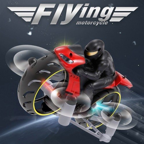 2 in 1 RC Stunt Drone Motorcycle Mini RC Quadcopter 2.4G Land Air Dual Playing Drone for Kids