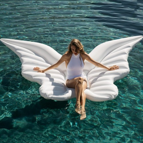 Giant PVC Angel Wings Floating Row Gold White Lie On Inflatable Water Mattress Inflatable Swimming Floating