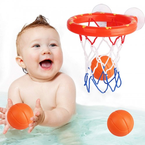 New Bath Toys 3 Balls Bathtub Basketball Hoop Game Shooting Baby Bath Toy Water Paddle Sports