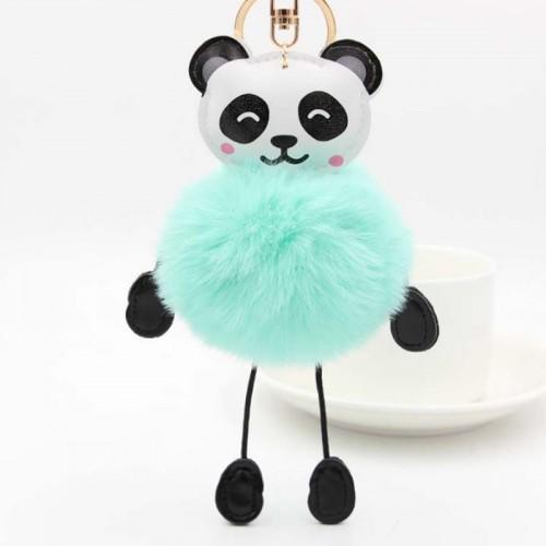 1 Pc Kawaii Panda Fake Rabbit Fur Soft Ball Keychain for Women Bag Pendant Cars Plush