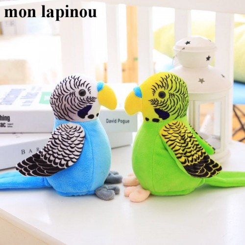18cm Electric Talking Parrot Toy Cute Speaking Record Repeats Waving Wings Electroni Bird Stuffed Plush Toy