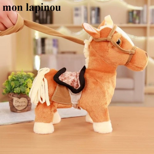 30cm Electric Horse Plush Toy Singing And Walking Machinery Pony Electronic Horse Funny Kids Toys Children