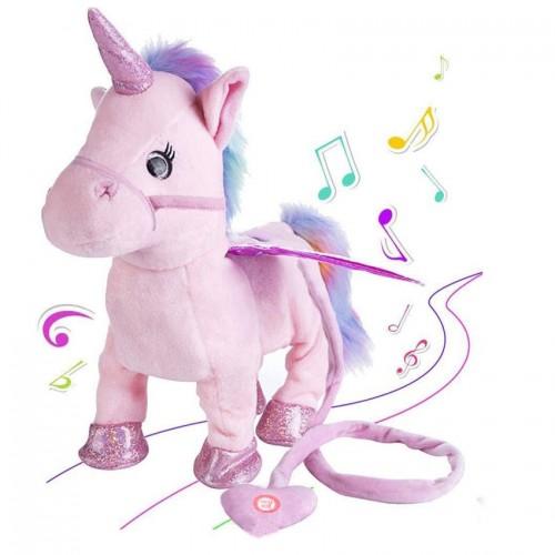 35cm Electric Walking Unicorn Plush Toy Stuffed Animal Toy Electronic Music Unicorn Toy for Children Christmas