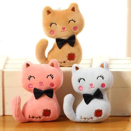 3Colors Little 8CM NEW Cat Plush Animal Stuffed Kitty Cat Key chain TOY Kid s