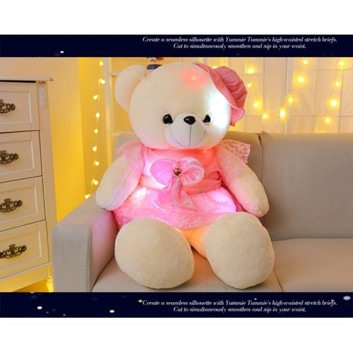 50cm Stuffed Plush Toys Led Colorful Glowing Teddy Bear For Kids Night Light Cute Lovely Soft