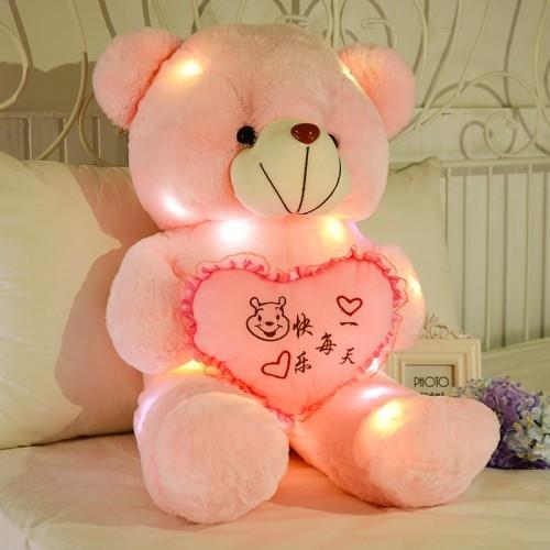 50cm kawaii Light Up LED Cute Teddy Bear Stuffed Animals Plush Toy Colorful Glowing Teddy Bear