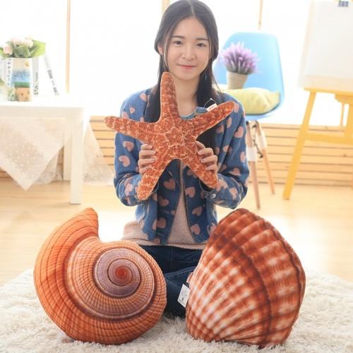 Creative Marine Life Plush Pillows Conch Shell Starfish Stuffed Plush Toys Cute Cushion Dolls for Kids