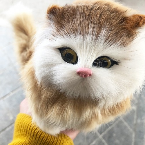 Real hair Electronic Pets Cats Dolls Simulation animal cat meowth children s cute pet plush ornaments
