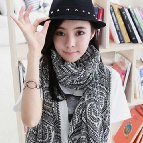 New Black White Trendy Women Long Bohemian Print Wrap Shawl Scarf Ladies Big Girl Scarf Tole Styles