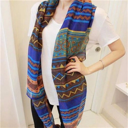 New Blue Brown Trendy Women Long Bohemian Print Wrap Shawl Scarf Ladies Big Girl Scarf Tole Styles