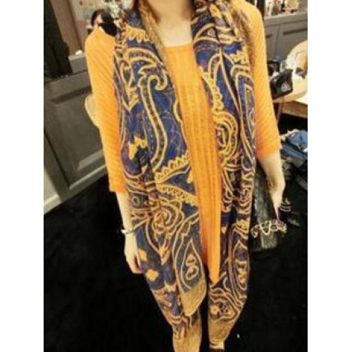New Blue Orange Trendy Women Long Bohemian Print Wrap Shawl Scarf Ladies Big Girl Scarf Tole Styles