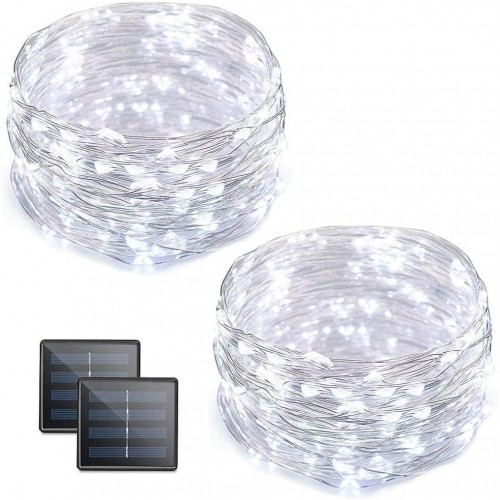 2 Pack Cool White 100 LED Solar Fairy Lights 10M 2 Modes Waterproof Outdoor String Lights For Garden