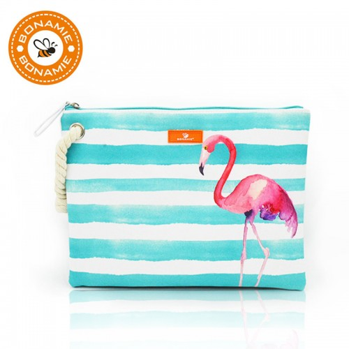 BONAMIE Women s Wet Bikini Clutch Bag Brand Designer Fashion Stripe Lady s Handbag Flamingo Hemp