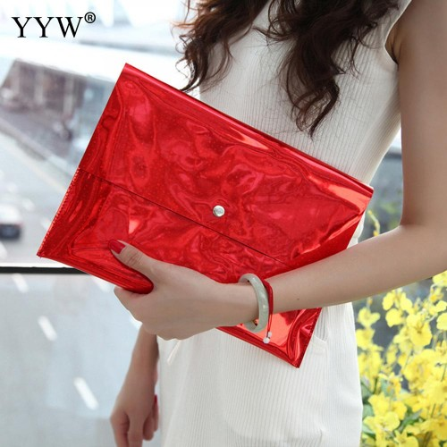 Brand Fashion Female Clutch Bag Orange Fluorescence PVC Women Handbags Envelope Bag Hasp Purple Famous Evening