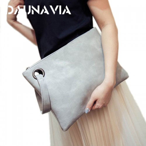 DAUNAVIA fashion women s clutch bag PU leather women envelope messenger bags clutch evening bag for