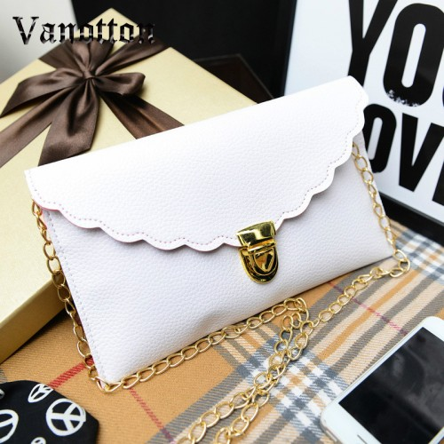 Ladies Handbag Long Chain Female Bag Lmitation Leather Shoulder Bag Fashion Wallet Metal Chain Lady Handbag