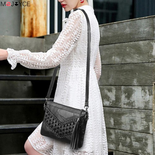 Women Braid Weave Messenger Bags bolsos mujer Women Leather Tassel Handbags Ladies Shoulder Crossbody Bag Clutch