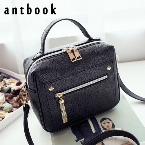 ANTBOOK New Fashion Pu Leather Solid Women Handbags Hotsale Ladies Shopping Bag Casual Shoulder Messenger