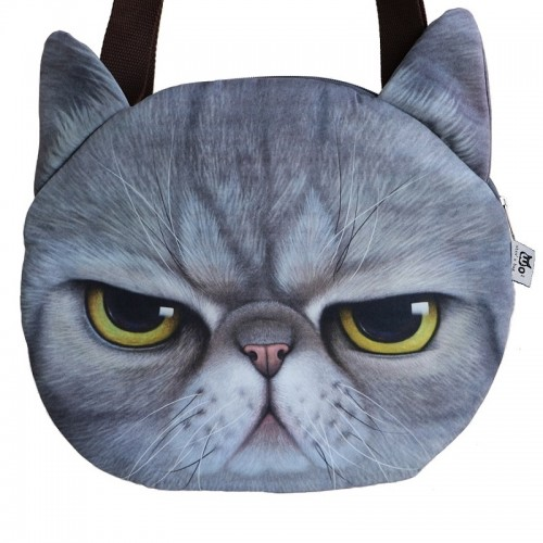 Hot Sale New Designed Female Retro Cartoon 3D Animal Printing Shoulder Bags Cat Shape Women Handbag