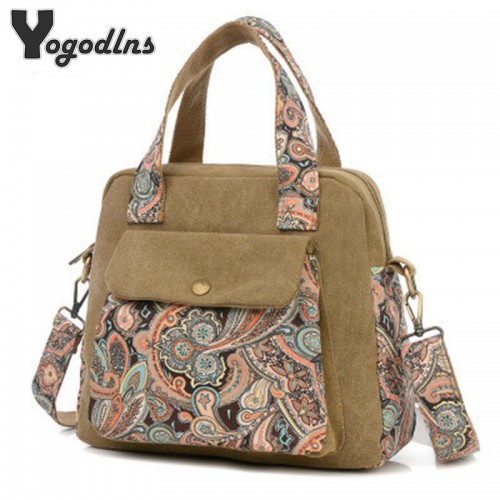 New Top Quality Vintage Women Handbag Ethnic Style Print Flower Canvas Large Tote Fashion Shoulder bag
