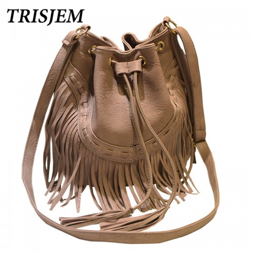 Vintage Tassel Bucket Bag Women Fashion PU Leather Shoulder Bags Black Brown Pink Gray Female