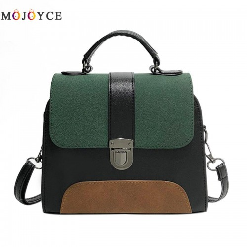 Women PU Leather Sling Handbag Girls Crossbody Bag Patchwork Color Messenger Shoulder Bag Elegant Large Purse