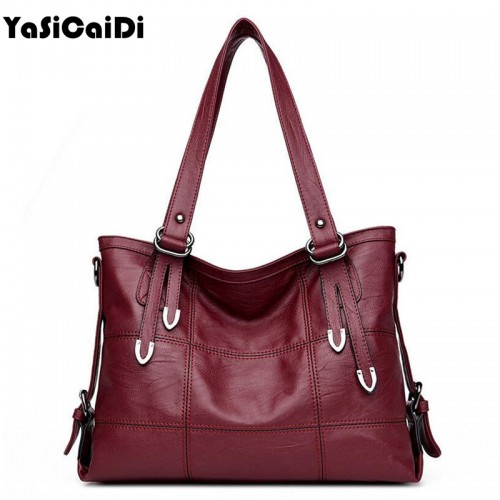 YASICAIDI Patchwork Women Shoulder Bag High Quality Black Pu Leather Women Handbag Vintage Stitching Large Crossbody