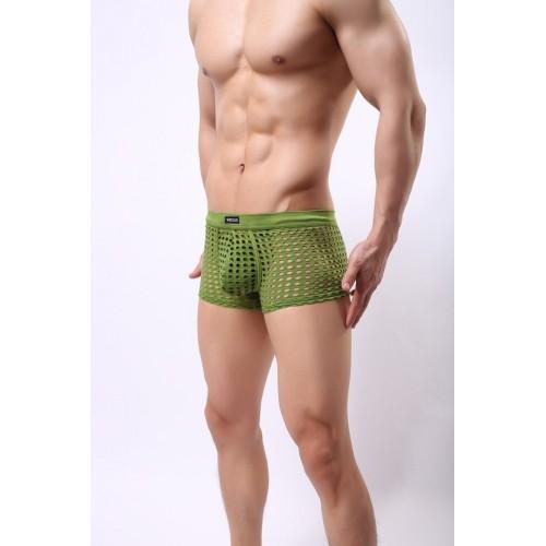 Men's Net Mesh Hollow Boxers - Green