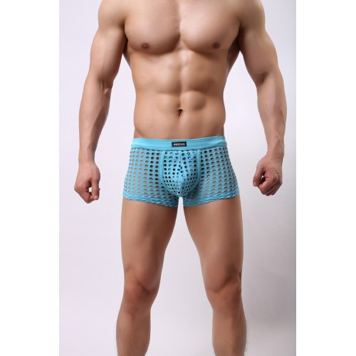 Men's Net Mesh Hollow Boxers - Sky