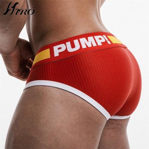 Brand PUMP Briefs Cotton Cueca Underwear Male G String Thongs Jockstrap Mesh Convex