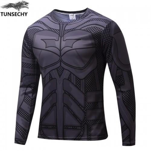 Grey Iron Man Printed Long Sleeves Quick Dry T Shirt