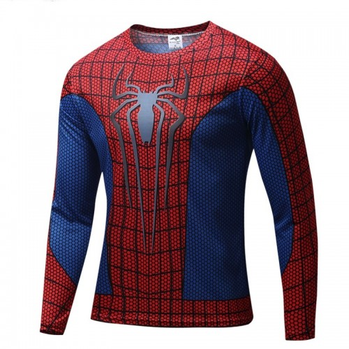 Red Blue Spider Printed Long Sleeves Quick Dry T Shirt