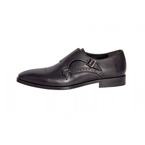 Castillo Genuine Leather Odyssey Double Monk Black Shoes
