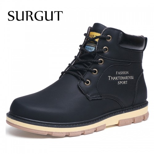 Brand Hot Newest Keep Warm Men Winter Boots Leather Wear Resisting Casual