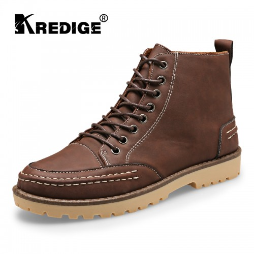 Men Lace Up Martin Boots Shoes Texture Comfortable Shoes Wear Resistant Anti Skid Pure Round