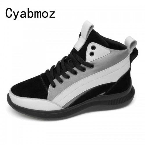 Men 5 7CM High Top Height Increasing Shoes Genuine Leather Breathable Sneakers With Invisible Elevator Insole