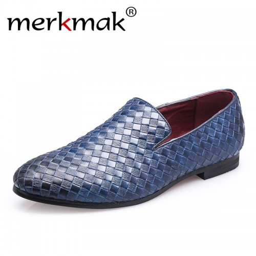 Merkmak Men Shoes luxury Brand Braid Leather Casual Driving Oxfords Shoes Men Loafers Moccasins Italian