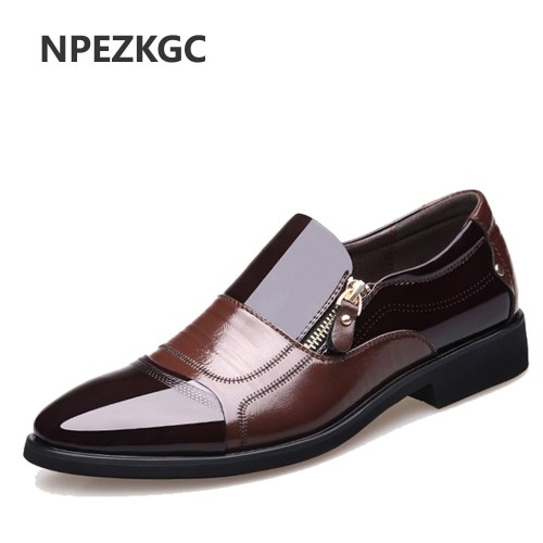 NPEZKGC New Spring Fashion Oxford Business Men Shoes Genuine Leather High Quality Soft Casual Breathable Men