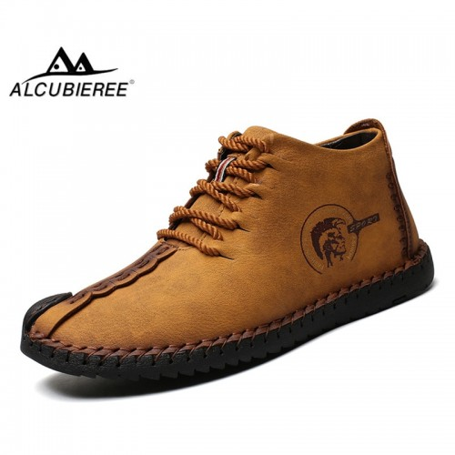 ALCUBIEREE Mens Warm High Top Shoes Men Genuine Leather Moccasins Winter Casual Lace up Flats Shoes