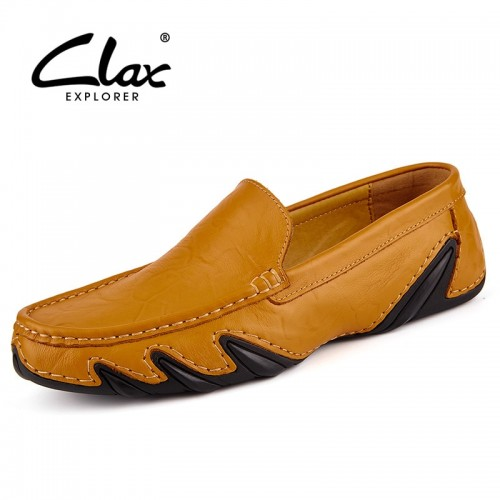 Clax Men Leather Flats Shoes Spring Summer Men s Boat Shoe Black Blue Casual Loafers