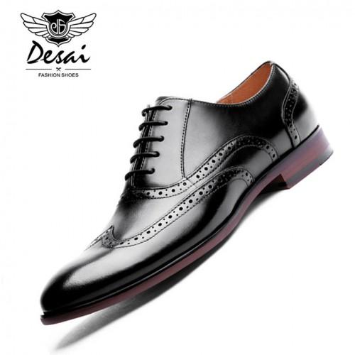 DESAI Brand Full Grain Leather Men Oxford Shoes Retro Carved British Style Bullock Formal Men Dress