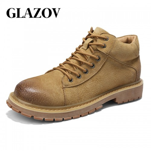 GLAZOV Brand New Arrive Winter Man Casual Shoes Male Work Genuine Leather Shoes Breathable Board Shoes