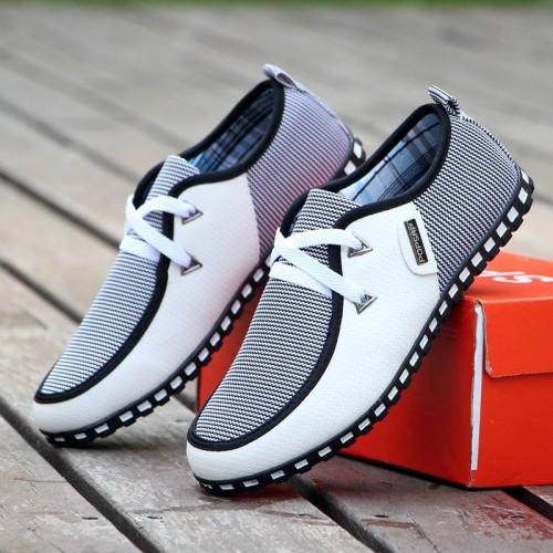 GOXPACER Spring Autumn Men Shoes Men Casual Shoes Breathable Flats Lacing Fashion Men Leather Shoes Plus