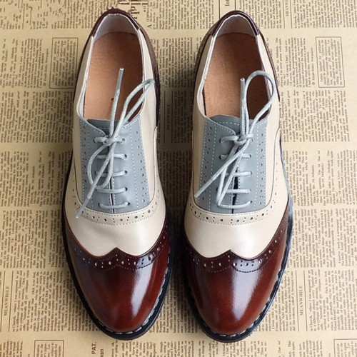 Men genuine leather brogues oxford flats shoes for mens brown handmade vintage casual sneakers leather flat