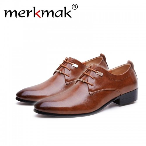 Merkmak Hign Quality Men Flats Leather dress Shoes Brogue Pointed Oxford Flat Male Casual Shoes Men
