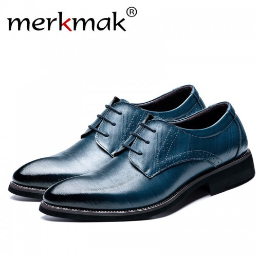 Merkmak Oxfords Leather Men Shoes Fashion Casual Pointed Top Formal Business Male