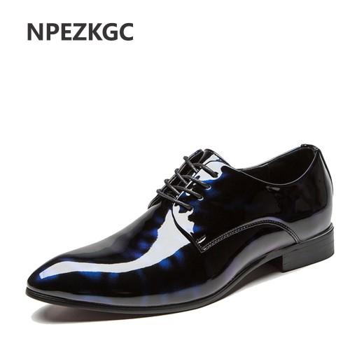 NPEZKGC Big Men Shoes PU Leather Casual Shoes Fashion Lace Up Oxfrds Shoes