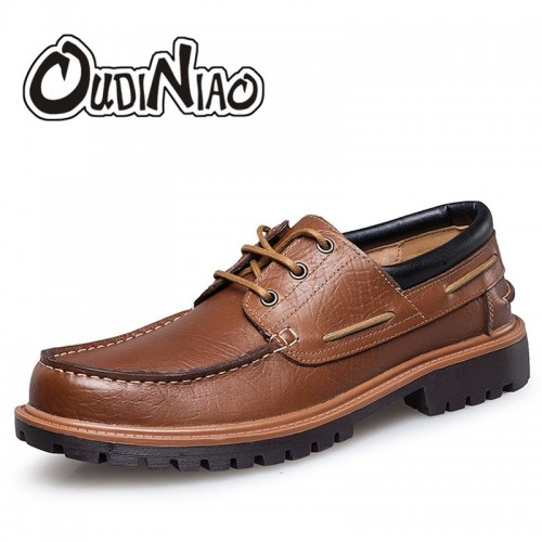 OUDINIAO Mens Shoes Casual Fashion British For Men Large Size Cow Leather Men Boat Shoes Casual